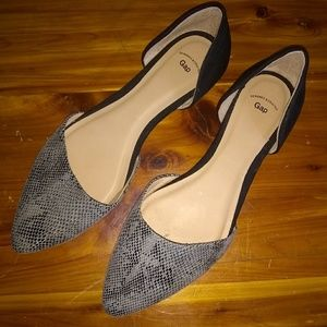 Gap snakeskin suede pointed toe flats